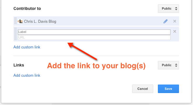 Add contributor links for blogs and Google Authorship