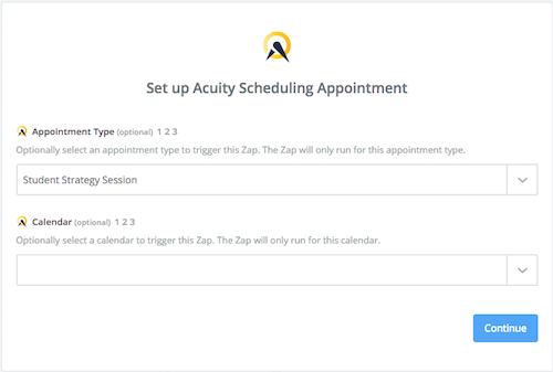 Use Zapier to Sync Acuity Appointment types