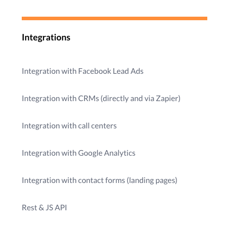 Callback software Livecall integrations settings