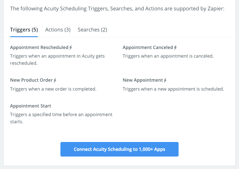 Acuity triggers, actions, and searches in zapier