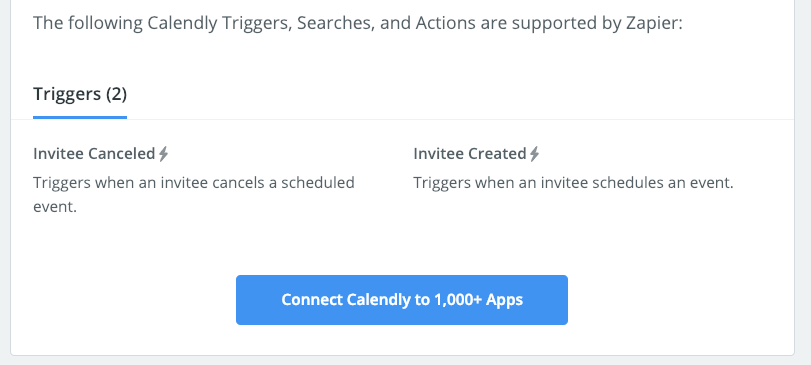 Calendly triggers available in Zapier