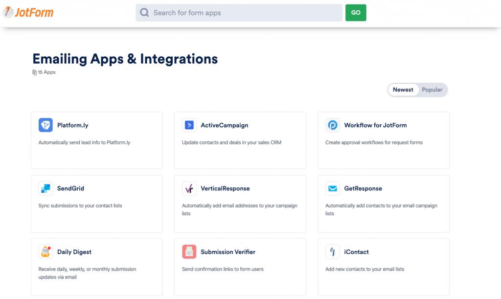 JotForm lead generation integration